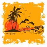Sommarillustration med den tropiska ön Arkivfoton