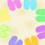 Sommarillustration med sandaler Vektor Illustrationer