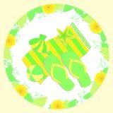 Sommarillustration med sandaler, bollstranden, handduken, snigeln och sjöstjärnan Vektor Illustrationer