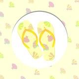 Sommarillustration med sandaler och sniglar Vektor Illustrationer
