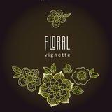 Sommarkaraktärsteckning med nyckelpigan Linje blom- illustrati för konst Arkivbilder