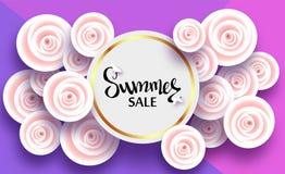 Sommarkort med blommor av ljus - rosa rosor och skuggor, för rabatter, försäljningar, befordringar stock illustrationer