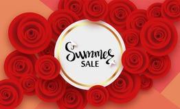 Sommarkort med blommor av röda rosor och skugga, för rabatter, försäljningar, befordringar royaltyfri illustrationer