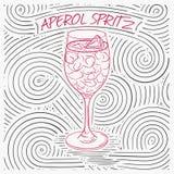 Sommarkort med bokstäver - Aperol Spritz Handskriven virvelmodell med coctailen i exponeringsglas royaltyfri illustrationer