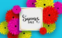 Sommarkort med färgrika blommor och skuggor för rabatter, försäljningar, befordringar vektor illustrationer