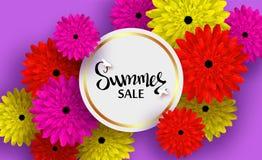 Sommarkort med färgrika blommor och skuggor för rabatter, försäljningar, befordringar stock illustrationer