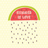 Sommarkort med vattenmelon Royaltyfri Bild
