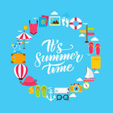 Sommarlägenhetcirkel stock illustrationer
