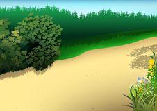 Sommarlandskap stock illustrationer