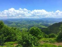 Sommarlandskap av de Carpathian bergen royaltyfri fotografi