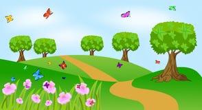 Sommarlandskap med blommor och fjärilar Arkivfoton