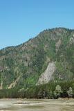 Sommarlandskap med en hög klippa ovanför floden Royaltyfri Fotografi
