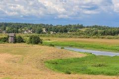Sommarlandskap med ett fält Fotografering för Bildbyråer
