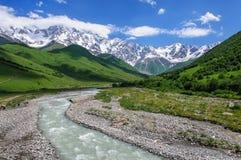 Sommarlandskap med flod- och bergsnö Arkivbild