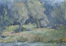 Sommarlandskap med träd med olje- målarfärger Arkivfoto