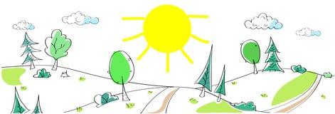 Sommarlandskapberg Forest Road Sun Green Arkivfoton