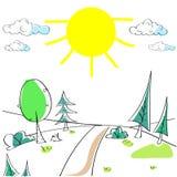 Sommarlandskapberg Forest Road Sun Green Arkivbild