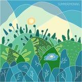 Sommarlandskapet av naturen, morgonen och soluppgång i en grön skog solen är i himlen, de gröna träden på kullarna och laken vektor illustrationer