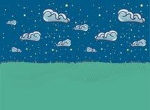 Sommarlandskapillustration med moln i plan stil royaltyfri illustrationer