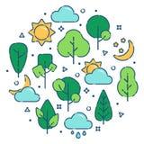 Sommarlandskaptryck vektor illustrationer