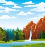Sommarliggande med vattenfallet Royaltyfria Foton