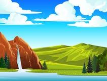 Sommarliggande med vattenfallet och kullar royaltyfri illustrationer