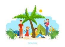 Sommarlopp - familjtur som värme landet, gemensam rekreation Arkivbilder