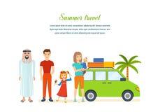 Sommarlopp - familjtur som värme landet i hans bil Fotografering för Bildbyråer