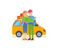 Sommarlopp - familjtur som värme landet i hans bil Royaltyfri Bild