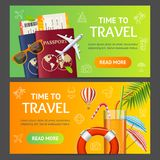 Sommarlopp och uppsättning för tjänste- baner för turism horisontal vektor Royaltyfria Bilder