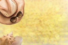Sommarmode, sugrörhatten, solexponeringsglas och havet beskjuter på illustra arkivfoton