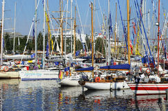 Sommarmorgon en yachthamnplats. Royaltyfri Fotografi