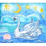 Sommarnatthimmel, lotusblomma, havsbakgrund och svanen med elevatorn påskyndar royaltyfri illustrationer