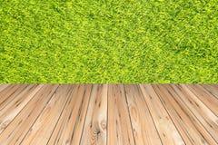 Sommarnaturbakgrund med trätabellen Arkivfoto