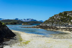 Sommaroy在特罗姆斯,挪威, 库存图片