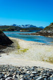 Sommaroy in Troms, Norway,. Sommaroy, a populated island located about 36 kilometres west of the city of Tromso in the western part of Troms county, Norway stock photography