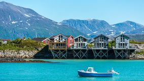 Sommaroy in Troms, Norway,. Sommaroy, a populated island located about 36 kilometres west of the city of Tromso in the western part of Troms county, Norway royalty free stock image