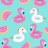 Sommarpöl som svävar med flamingo och enhörningen seamless modell royaltyfri illustrationer