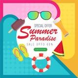 SommarParadise färgrik bakgrund med frukt, glass, sol-exponeringsglas, beståndsdelar royaltyfri illustrationer