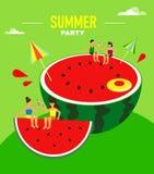 Sommarparti med en vattenmelon och roliga tecken Sommarvektorillustration vektor illustrationer