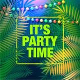 Sommarpartiaffischen, dekorativa ferieljus för en strand festar Inspirationkort för att gifta sig, datum, födelsedag, vektor royaltyfri illustrationer