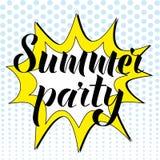 Sommarpartibokstäver i stil för popkonst också vektor för coreldrawillustration Royaltyfri Foto