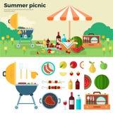 Sommarpicknick på äng under paraplyet Arkivbild