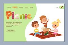Sommarpicknick som landar sidan Vektorungetecken stock illustrationer