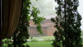 Sommarregn, en åskväder, en tung hällregn på rekreationmitten, i en pinjeskog, parkerar vatten flödar ner in stock video