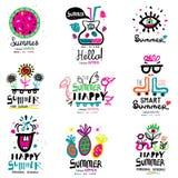 Sommarsäsong logoen och illustrationerna Royaltyfri Bild