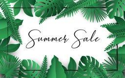SommarSale baner För sidavektor för affisch tropisk design med den svarta ramen på en vit bakgrund vektor illustrationer