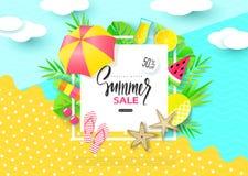 SommarSale baner med söta loppsemesterbeståndsdelar Pappers- konst Tropiska växter, ananas, glass, körsbär, apelsin, coctail stock illustrationer