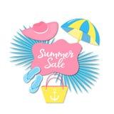 SommarSale baner Strandsakerhäftklammermatare, påse, hatt, solparaply i pappers- klippt stil royaltyfri illustrationer