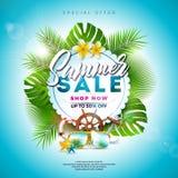 SommarSale design med blomman, strandferiebeståndsdelar och exotiska sidor på blå bakgrund Tropisk blom- vektor stock illustrationer